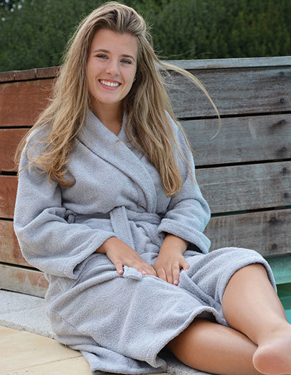 Bademäntel von der Marke A&R namens Bathrobe Shawl Collar in der Farbe Anthracite Grey