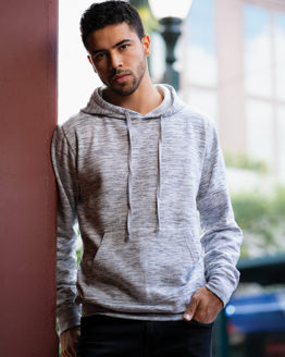 Sweatshirts & -jacken von der Marke Burnside namens Injected Slub Yarn Dyed Fleece Hoodie in der Farbe Blue Melange