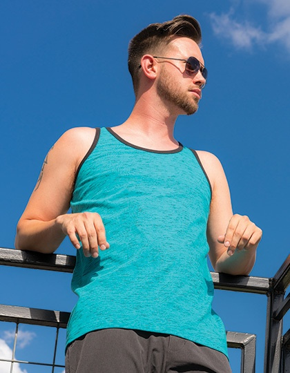 T-Shirts von der Marke Burnside namens Injected Slub Tank Top in der Farbe Blue (Black Heather)