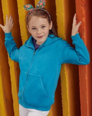 Sweatshirts & -jacken von der Marke Fruit of the Loom namens Classic Hooded Sweat Jacket Kids in der Farbe Azure Blue