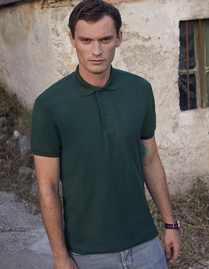 Poloshirts von der Marke Fruit of the Loom namens 65/35 Heavy Piqué Polo in der Farbe Black