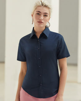 Blusen von der Marke Fruit of the Loom namens Ladies Short Sleeve Oxford Shirt in der Farbe Black