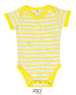 Bodies von der Marke SOL´S namens Baby Striped Bodysuit Miles in der Farbe Ash (Heather)