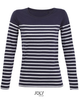 T-Shirts von der Marke SOL´S namens Women´s Long Sleeve Striped T-Shirt Matelot in der Farbe French Navy