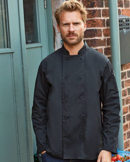 Jacken von der Marke Premier Workwear namens Chefs Long Sleeve Coolchecker® Jacket in der Farbe Black