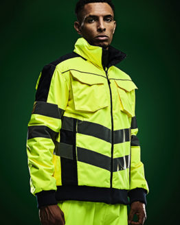 Jacken von der Marke Regatta High Visibility namens Hi-Vis Pro Bomber Jacket in der Farbe Yellow