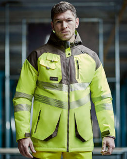 Jacken von der Marke Regatta Tactical namens Hi-Vis Parka Jacket in der Farbe Yellow