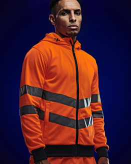 Sweatshirts & -jacken von der Marke Regatta High Visibility namens Hi-Vis Pro FZ Extol Stretch Hoodie Jacket in der Farbe Orange