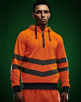 Sweatshirts & -jacken von der Marke Regatta High Visibility namens Hi-Vis Pro Overhead Extol Stretch Hoodie in der Farbe Orange