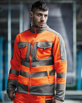 Jacken von der Marke Regatta Tactical namens Hi-Vis Extol Stretch F/Z Jacket in der Farbe Orange