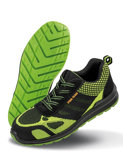 Schuhe von der Marke WORK-GUARD namens Hicks Safety Trainer in der Farbe Neon Green