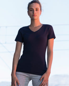 T-Shirts von der Marke SF Women namens Women`s Feel Good Stretch V-Neck T in der Farbe Black