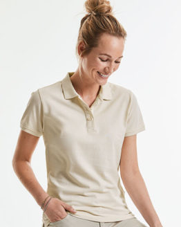 Poloshirts von der Marke Russell Pure Organic namens Ladies´ Pure Organic Polo in der Farbe White