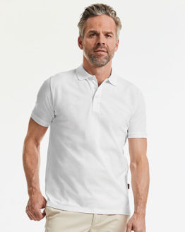 Poloshirts von der Marke Russell Pure Organic namens Men´s Pure Organic Polo in der Farbe White