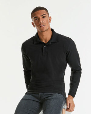 Poloshirts von der Marke Russell namens Long Sleeve Classic Cotton Polo in der Farbe Black