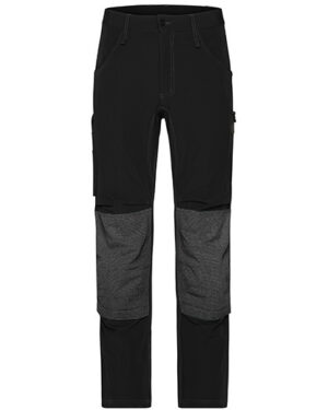 Hosen von der Marke James+Nicholson namens Workwear Pants 4-Way Stretch Slim Line in der Farbe Black